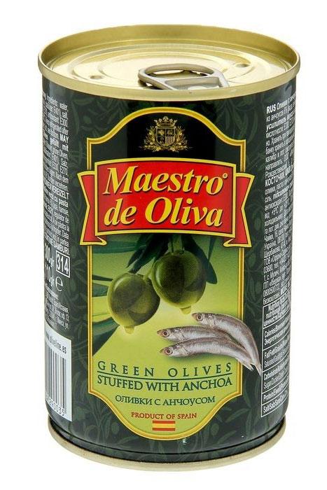 Maestro de Oliva оливки крупные с анчоусом, 350 г цена