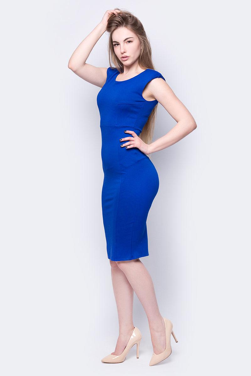 Платье adL, цвет: голубой. 12433475000_022. Размер L (46/48)12433475000_022Платье от adL выполнено из эластичного полиэстера с добавлением вискозы. Модель облегающего кроя без рукавов и с круглым вырезом горловины на спине застегивается потайную молнию.