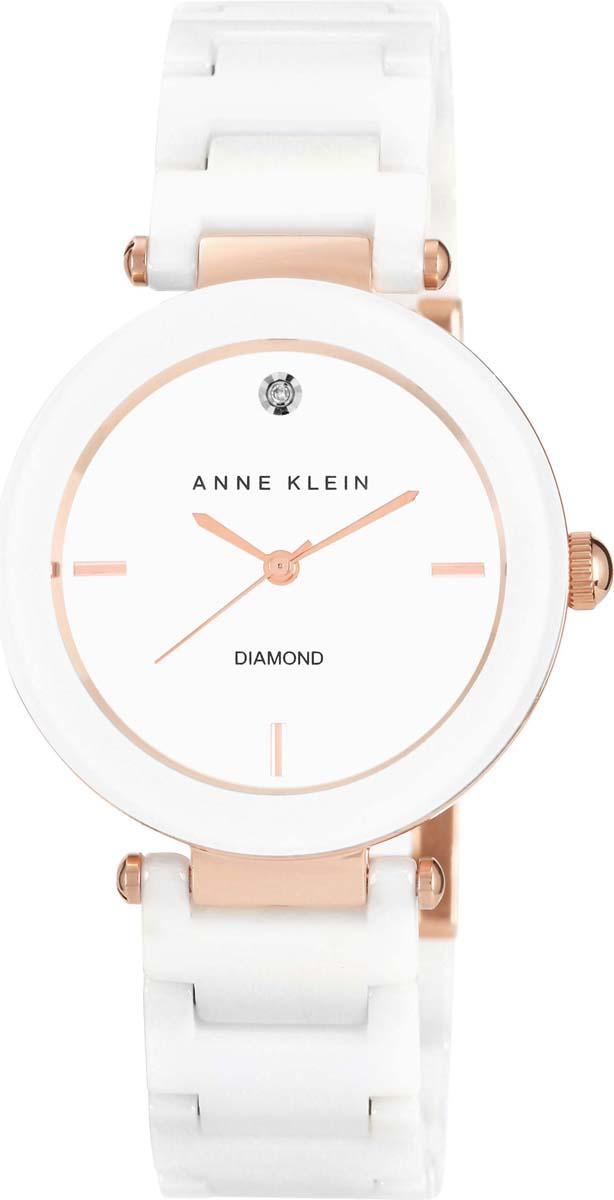 лучшая цена Часы наручные женские Anne Klein, цвет: белый, светло-розовый. AK-1018-04