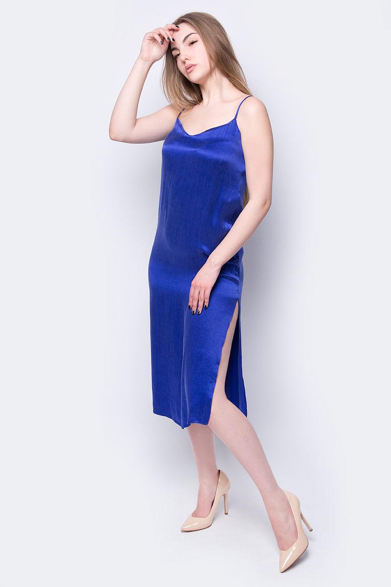 Платье adL, цвет: голубой. 12433855000_022. Размер XS (40/42)12433855000_022Платье от adL выполнено из хлопка с добавлением вискозы. Модель на тонких бретелях сбоку дополнена разрезом.