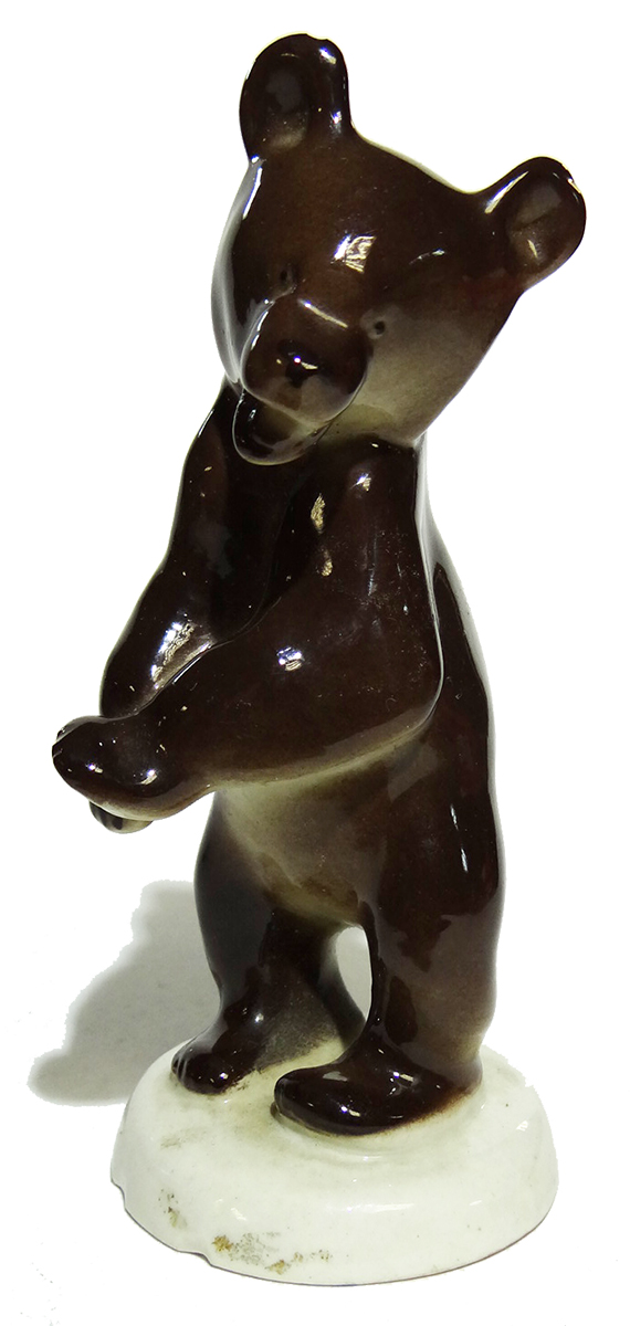 Статуэтка Медведь бурый. Фарфор, роспись. ЛФЗ. СССР, 1950-1960-е гг. хрустальная статуэтка медведь cristallerie royale de champagne