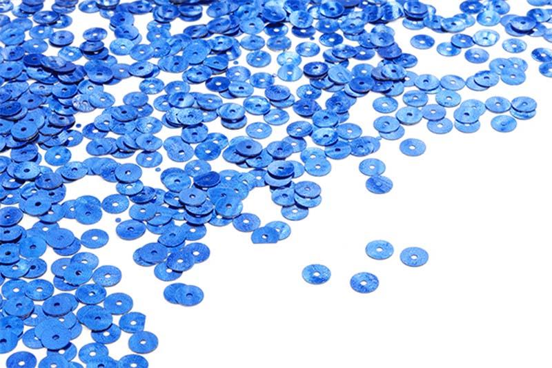 Пайетки плоские Ideal, цвет: синий (5), 6 мм, 50 г