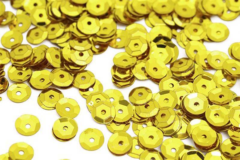 Пайетки Ideal, цвет: желтый (A7), 8 мм, 50 г