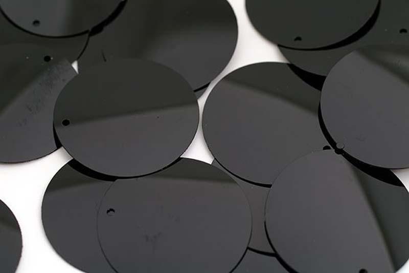 Пайетки Ideal, цвет: черный (A075), 20 мм, 50 г. ТВY.FLK117.A075