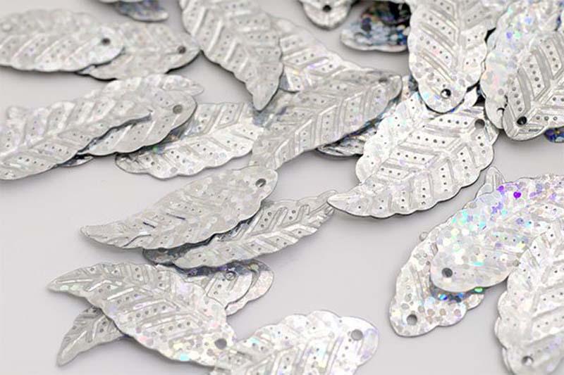 Пайетки Ideal, цвет: серебряный (50112), 12 х 32 мм, 50 г