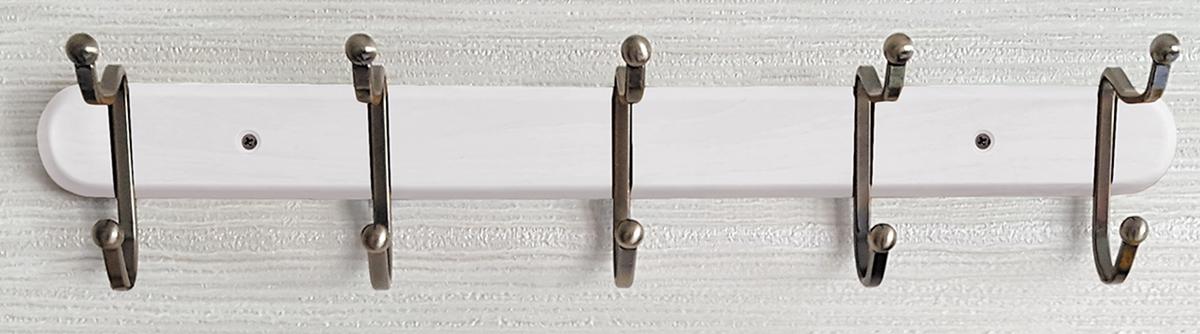 Фото - Вешалка настенная Tatkraft Charm, с двойными крючками, цвет: белый, 51 x 9,8 x 10,8 см держатель tatkraft elf двойной цвет серый металлик 8 x 2 5 x 14 см