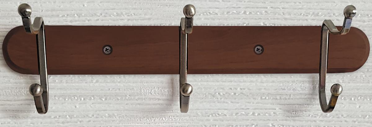 Фото - Вешалка настенная Tatkraft Charm, с двойными крючками, цвет: коричневый, 29 x 9,8 x 10,8 см держатель tatkraft elf двойной цвет серый металлик 8 x 2 5 x 14 см