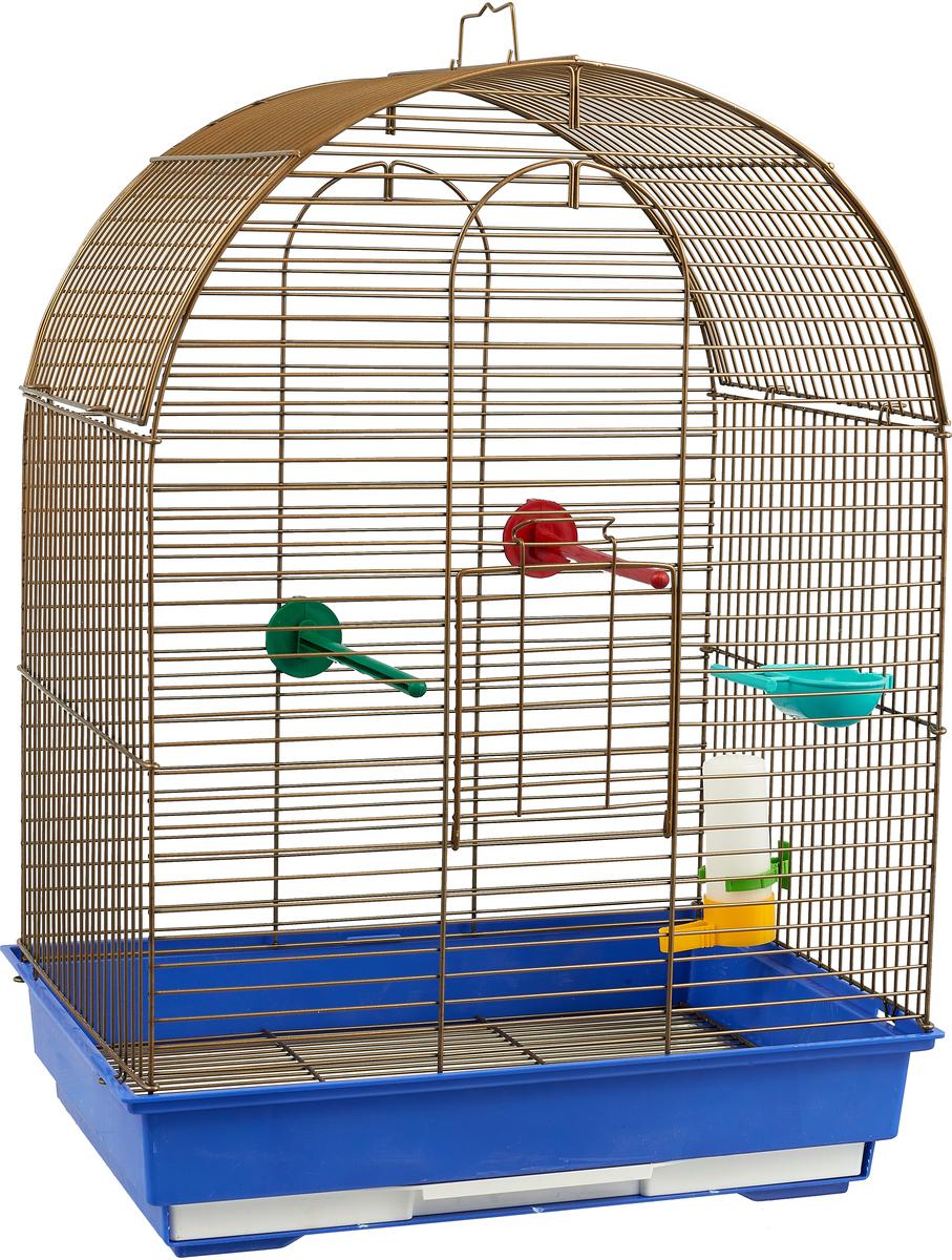 Клетка для птиц Велес Lusy Gold, разборная, цвет: синий, 30 х 42 х 65 см клетка для грызунов велес lusy 2 2 этажная цвет красный 30 х 42 х 25 см