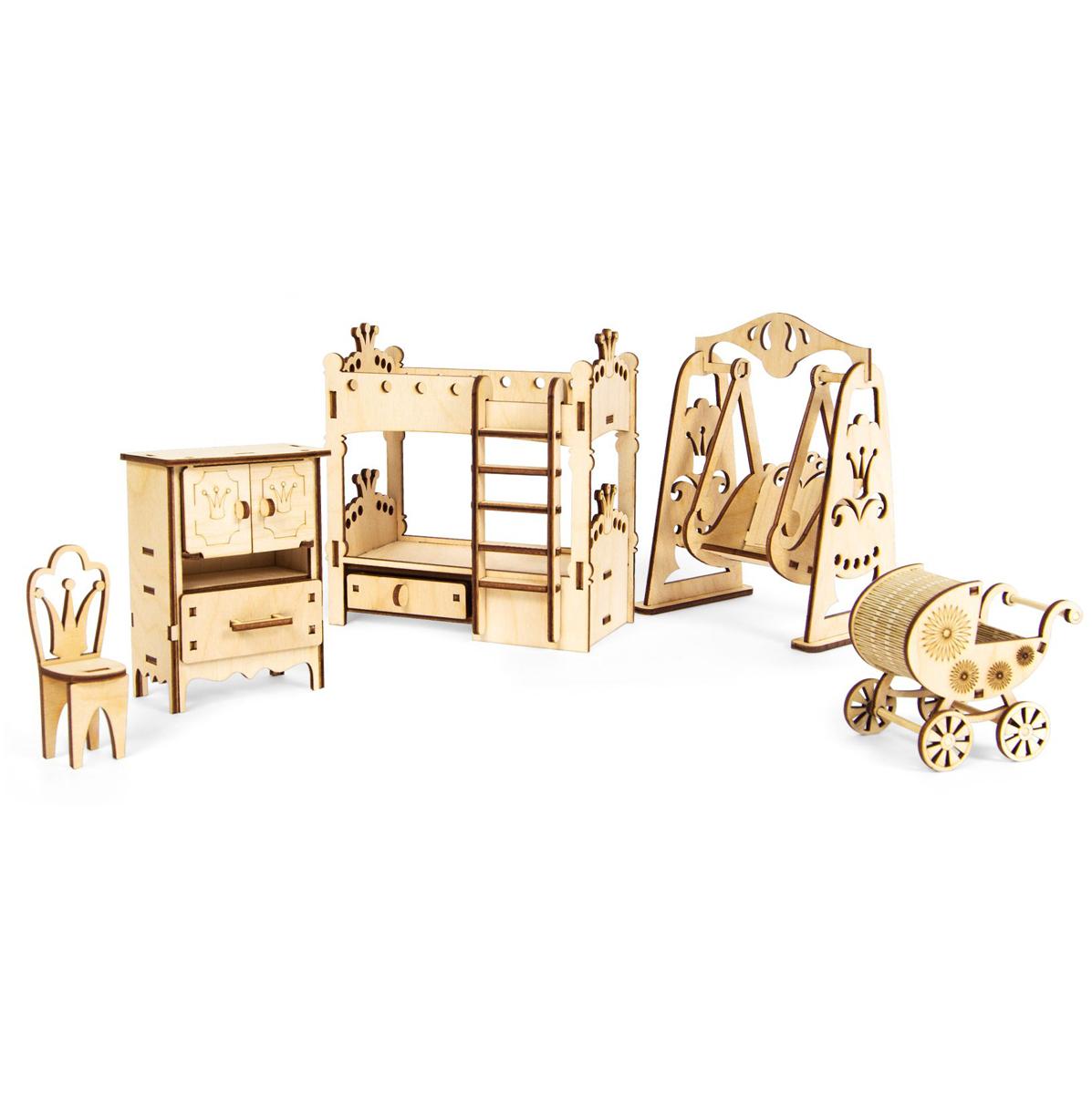 """Мебель для кукол Iq Format """"Детская комната"""", 5 предметов, 66 деталей"""