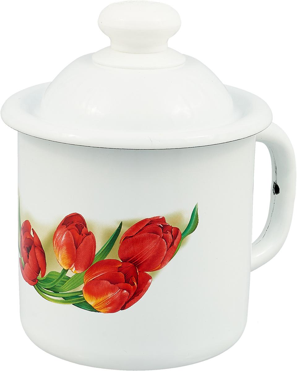 Фото - Кружка эмалированная Эмаль Тюльпаны, с крышкой, 1 л лоток эмаль 1 л без рисунка
