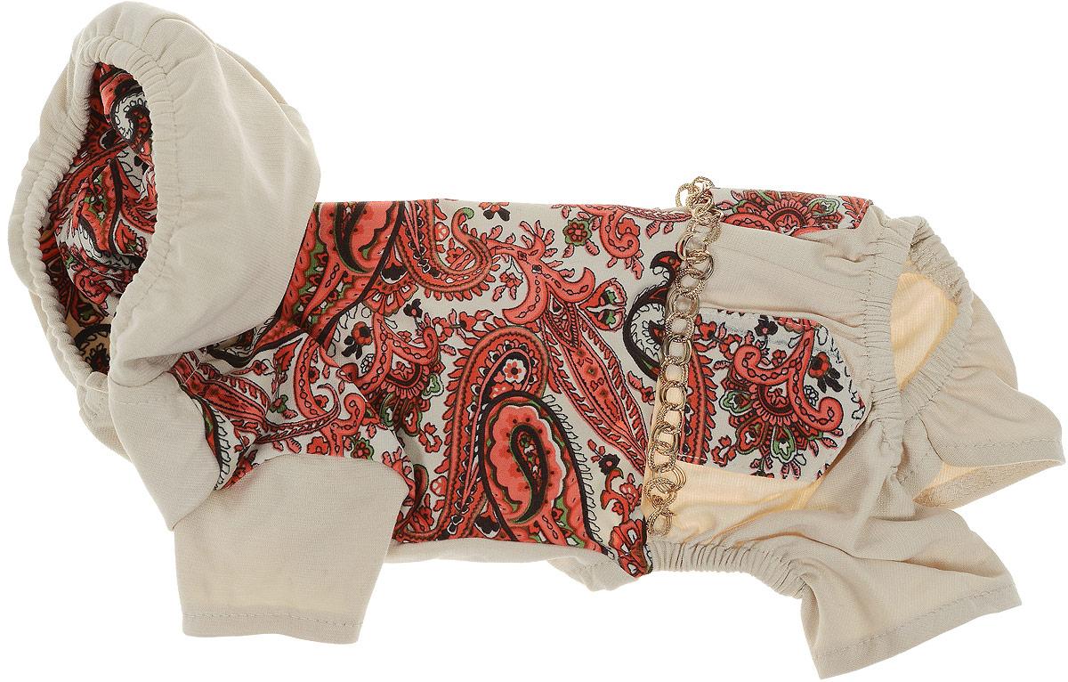 Комбинезон для собак Pret-a-Pet Цепочки, цвет: бежевый, красный. Размер M