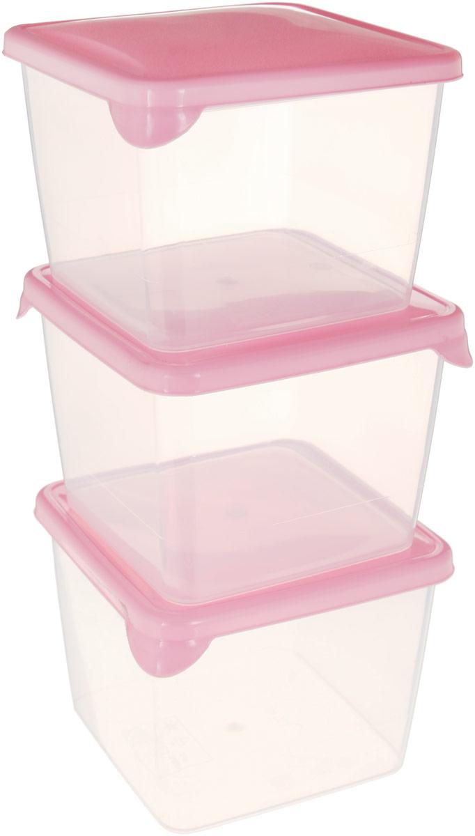 Комплект емкостей для продуктов Giaretti Браво, прозрачный, розовый, 750 мл, 3 шт емкость для продуктов giaretti браво цвет белый прозрачный 900 мл gr1068