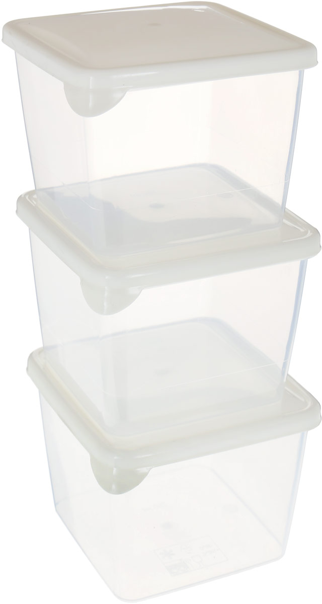 Комплект емкостей для продуктов Giaretti Браво, цвет: прозрачный, молочный, 750 мл, 3 шт емкость для продуктов giaretti браво цвет белый прозрачный 900 мл gr1068