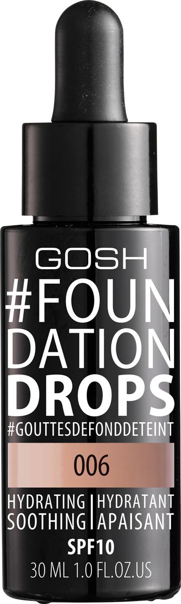 Gosh Тональный крем Foundation Drops увлажняющий, 30 мл, 006