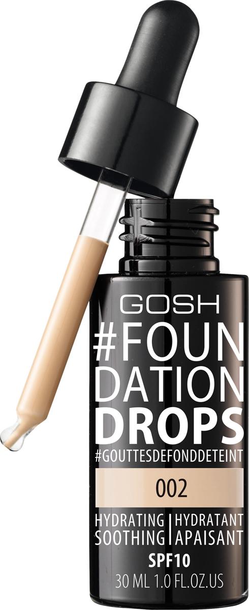 Gosh Тональный крем Foundation Drops увлажняющий, 30 мл, 002