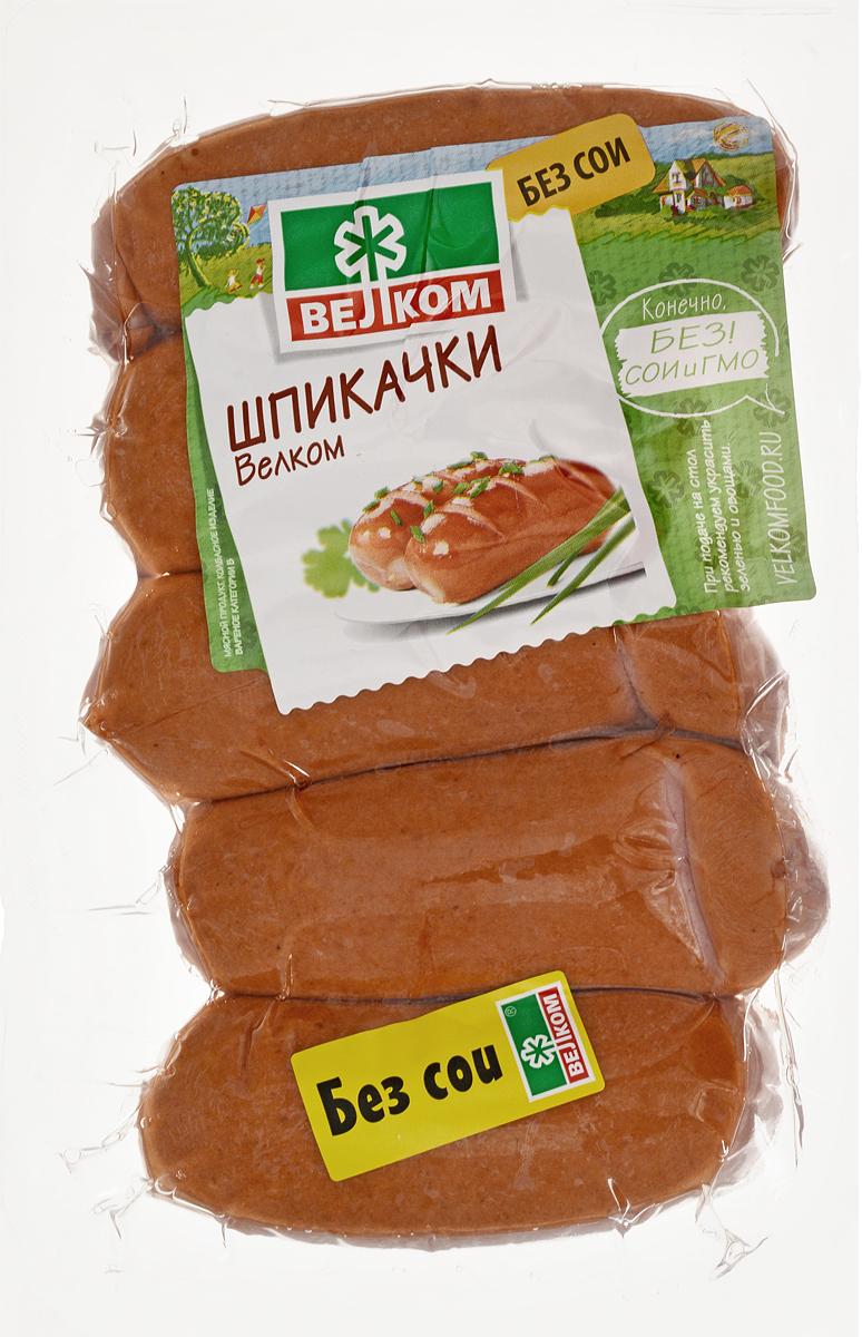 Велком Шпикачки в натуральной оболочке, 450 г велком молочная колбаса в белковой оболочке 440 г
