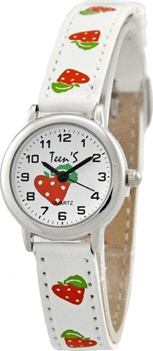 Часы наручные детские Тик-Так Клубнички, цвет: белый. 114-4 часы детские наручные