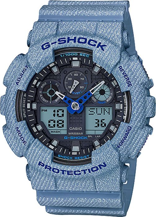 Часы наручные мужские Casio G-Shock, цвет: светло-джинсовый. GA-100DE-2AGA-100DE-2AСтильные часы от японского брэнда Casio - это яркий функциональный аксессуар для современных людей, которые стремятся выделиться из толпы и подчеркнуть свою индивидуальность. Часы от бренда Casio имеют ряд преимуществ: надежность, прекрасная репутация на мировом рынке, воплощение в изделиях традиций и инноваций. Уже более 35 лет модели часов из серии G-Shock создают энергию экстрима и активного образа жизни. Высокопрочный пластик корпуса пришелся по душе всем любителям неординарного подхода к обычным вещем. Часы G-Shock поражают своей долговечностью, надежностью и функциональностью, в которую входит свойства будильника, хронографа, автоматической подсветки и мировой временной шкалы.