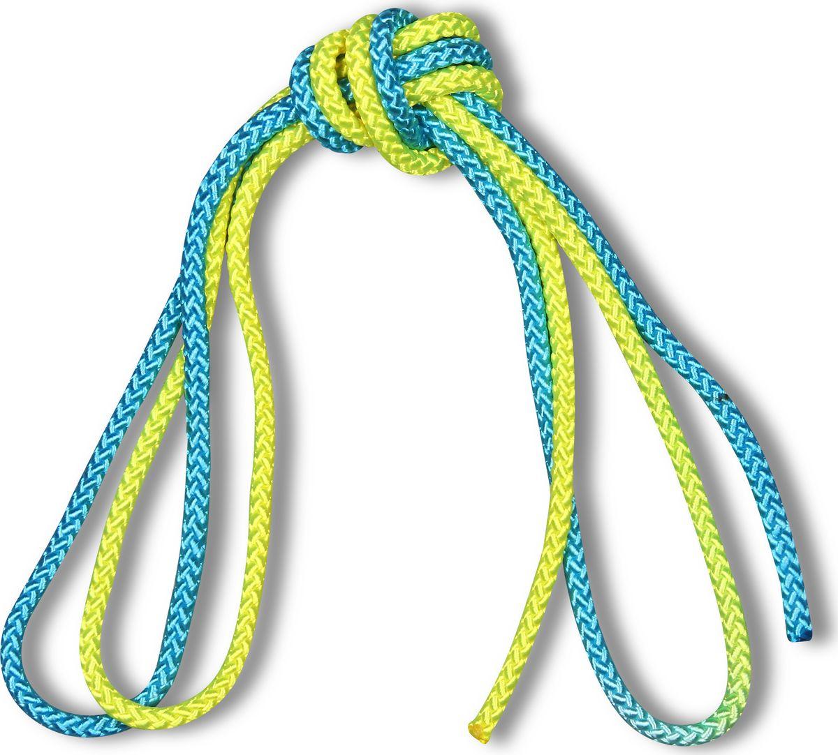 Скакалка для художественной гимнастики Indigo, IN040, желтый, голубой, утяжеленная, 3 м, 165 г детская скакалка 2 3 м в ассортименте