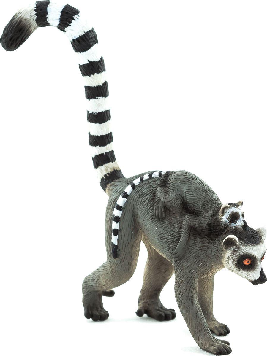 Mojo Фигурка Кошачий лемур с детенышом на спине mojo фигурка гепард с детенышом в пасти