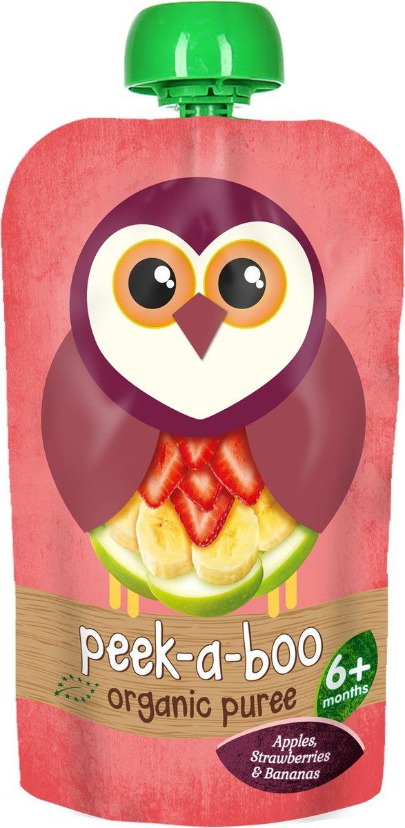 Peek-a-boo пюре органическое яблоко, банан, клубника, с 6 месяцев, 113 г