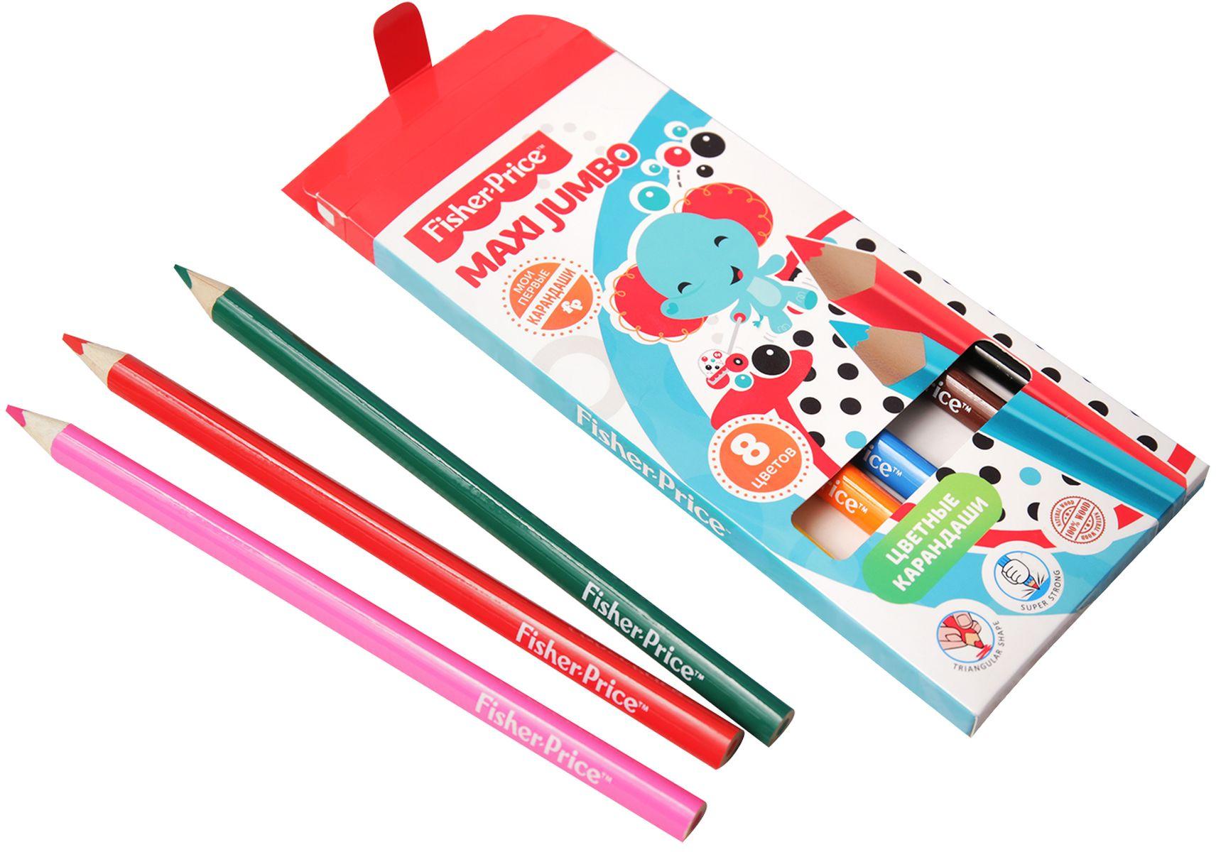 Mattel Набор цветных карандашей Maxi Jumbo Mattel Fisher Price 8 цветов mattel набор фигурок fisher price shimmer