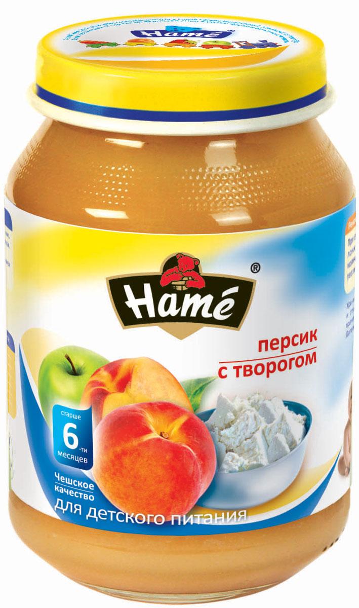 Hame персик с творогом фруктовое пюре, 190 г
