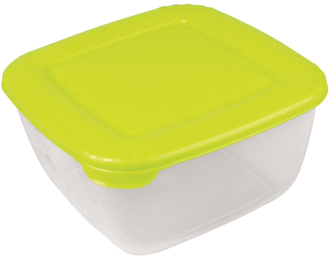 Контейнер пищевой Plast Team Polar, цвет: лайм, 1,5 л, 16,8 х 16,8 х 8,5 см контейнер пищевой plast team цвет голубой прозрачный 0 6 л