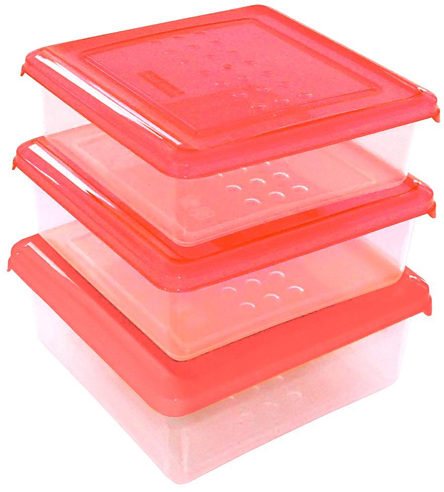 """Набор емкостей Plast Team """"Pattern"""", цвет: коралловый, квадратные, 0,5 л, 3 шт"""