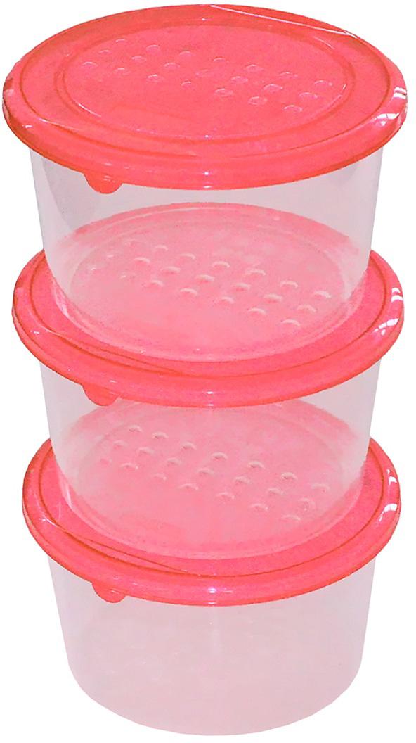 """Набор емкостей Plast Team """"Pattern"""", цвет: коралловый, круглые, 0,8 л, 3 шт"""