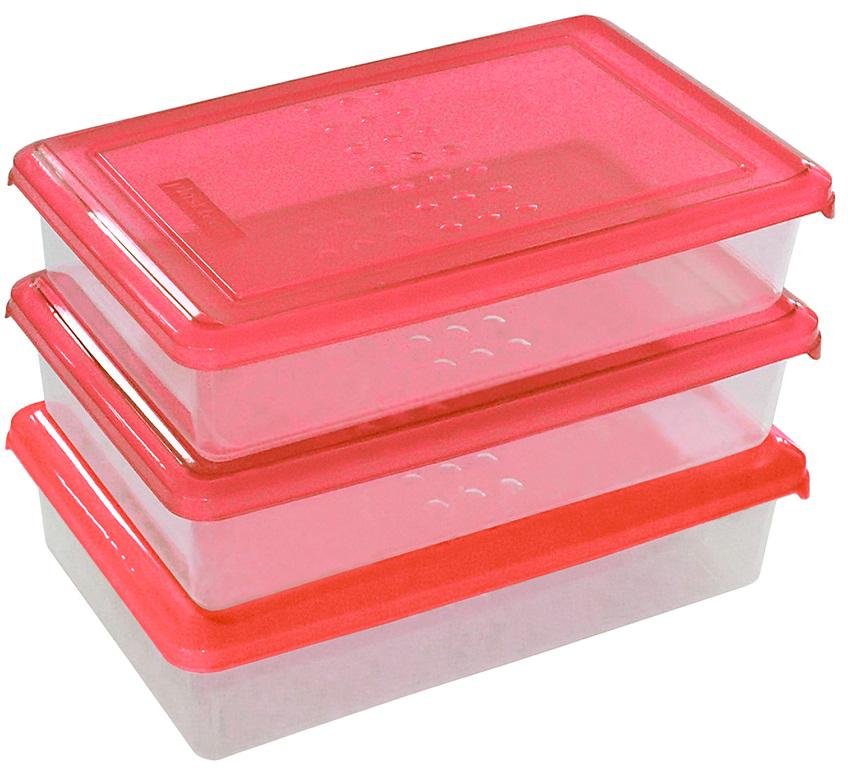 """Набор емкостей Plast Team """"Pattern"""", цвет: коралловый, прямоугольные, 0,75 л, 3 шт"""