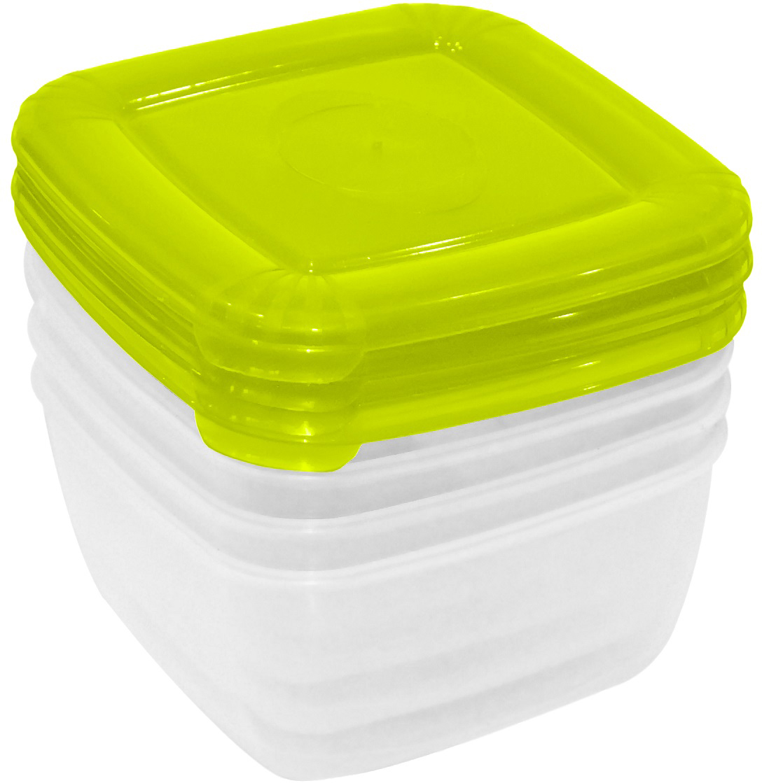 """Набор емкостей Plast Team """"Polar"""", цвет: лайм, квадратные, 0,46 л, 4 шт"""
