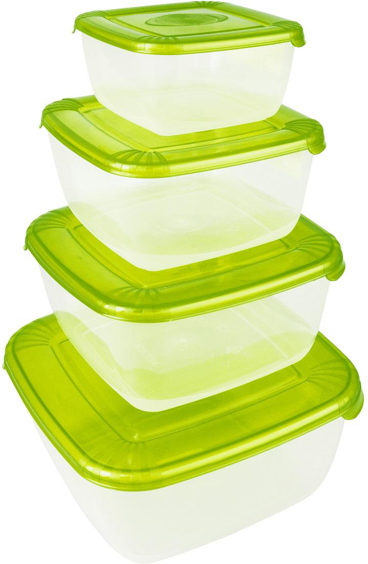 Набор емкостей Plast Team Polar, цвет: лайм, квадратные, 4 штPT1681ЛАЙМ-6РNУниверсальные качественные контейнеры предназначены для хранения в холодильнике и морозилке, разогрева в СВЧ (не более 3х минут, при открытой крышке). Благодаря покрытию шагрень на верхней плоскости крышки контейнер удобно держать в руках и контейнеры надежно устанавливаются друг на друга.