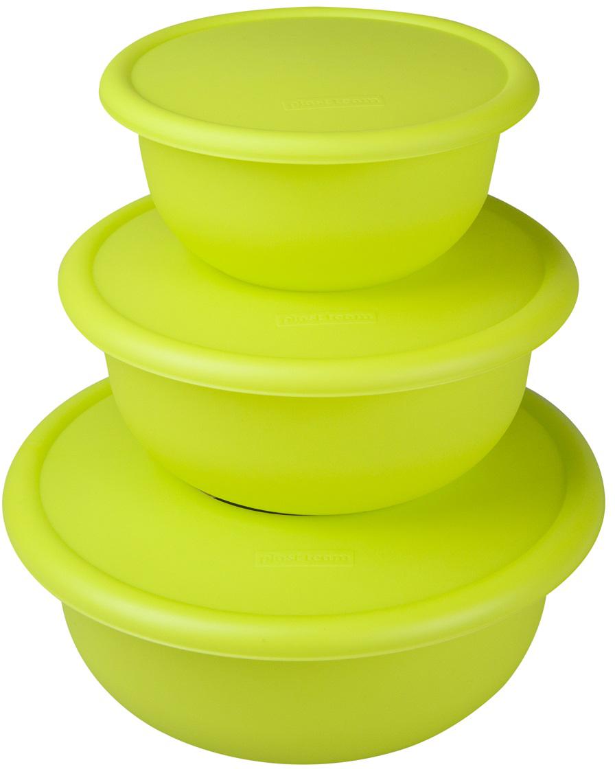 """Набор мисок """"Plast Team"""", цвет: лайм, с крышками, 3 шт"""