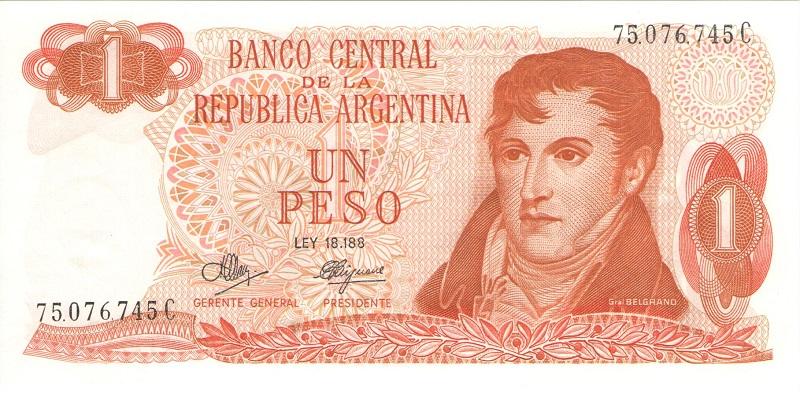 Банкнота номиналом 1 песо. Аргентина. 1970-1973 года (подпись тип 2)