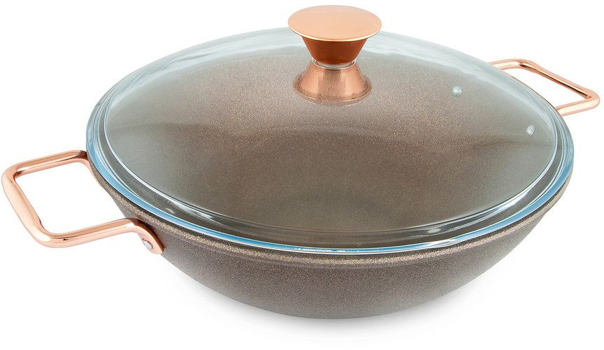 Сковорода-вок Нева Металл Посуда Saffran с крышкой, с антипригарным покрытием. Диаметр 30 см сковорода нева металл 9120 20 см алюминий