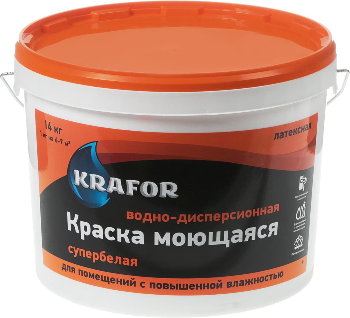 Краска водно-дисперсионная Krafor, латексная, моющаяся, цвет: белый, 14 кг краска бетрия водно дисперсионная универсальная для внутренних работ цвет белый 25 кг вд ак 112 м5 25