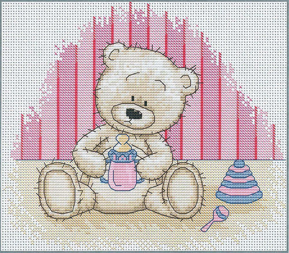 Набор для вышивания крестом Luca-S Медвежонок Бруно, 17,5 х 14,5 см. B1085 набор для вышивания крестом luca s улитка 8 5 х 5 см