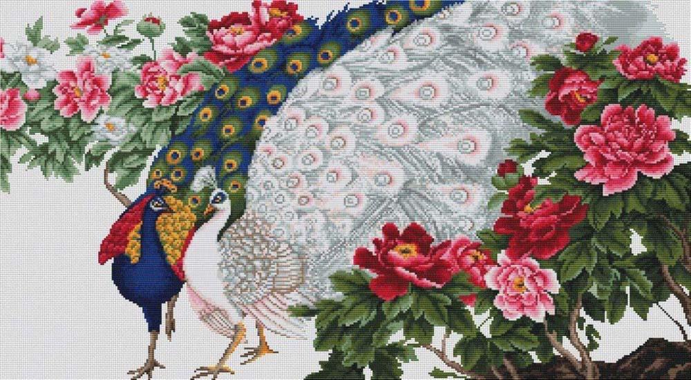 Набор для вышивания крестом Luca-S Павлины в цветах, 28 х 53 см набор для вышивания крестом luca s нежное очарование 28 5 х 38 см