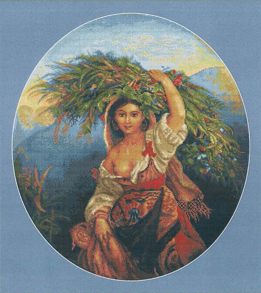 Набор для вышивания крестом Luca-S Итальянка с цветами, 37 х 42 см набор для вышивания крестом luca s нежное очарование 28 5 х 38 см