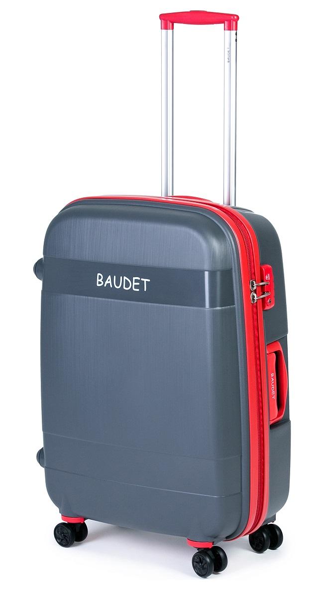 Чемодан Baudet, на колесах, цвет: серый шампань, красный, 123,75 лBHL0708802-75 (СШ/К)Чемодан пластиковый на 4-х колесах BAUDET, арт. BHL0708802-75, L. Чемодан выполнен из полипропилена - материала, обладающего высокой ударопрочностью и стойкостью к механическим повреждениям. Внутри содержатся два больших отдела для хранения одежды с перекрещивающимися ремнями. Имеется внутренний карман на молнии для документов. Система двойных колес, вращающихся на 360°, равномерно распределяет нагрузку и позволяет легко катить чемоданы по любой твердой поверхности. Колеса изготовлены из прорезиненного материала. Чемодан оснащен кодовым замком TSA, который исключает возможность взлома. Отверстие для ключа в кодовом замке предназначено для работников таможни (открытие багажа для досмотра без присутствия хозяина). Ключ находится только у таможни и в комплекте с чемоданом не идет. Телескопическая ручка выдвигается нажатием на кнопку и фиксируется в двух положениях. Сверху и сбоку предусмотрены ручки для поднятия чемодана. Высота корпуса чемодана: 75 см.