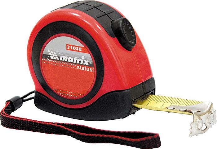 Рулетка Matrix Status Autostop Magnet, с магнитным зацепом, цвет: красный, 25 мм х 7,5 м