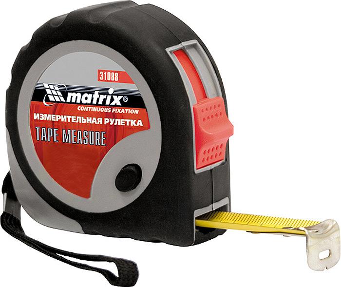 Рулетка Matrix Continuous Fixation, c плавной фиксацией, цвет: черный, 25 мм х 7,5 м