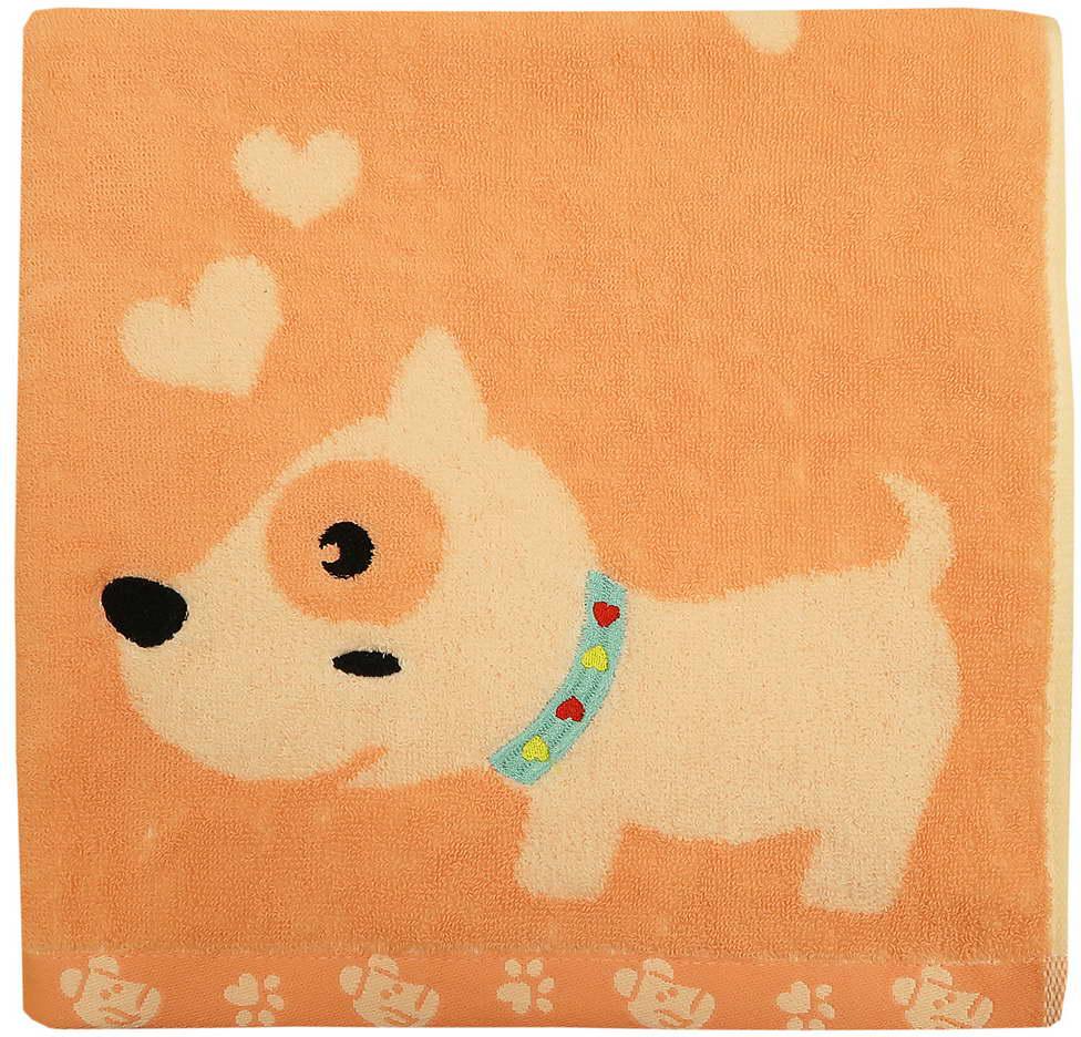 Полотенце махровое Bravo Забавный щенок, цвет: розовый, 60 x 120 см полотенце махровое bravo фиксики нолик цвет голубой 60 х 120 см м1079 01 m