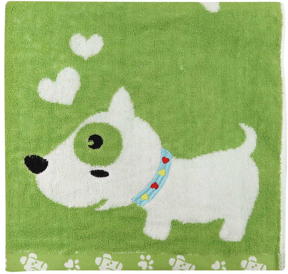 Полотенце махровое Bravo Забавный щенок, цвет: зеленый, 60 x 120 см полотенце махровое bravo фиксики нолик цвет голубой 60 х 120 см м1079 01 m