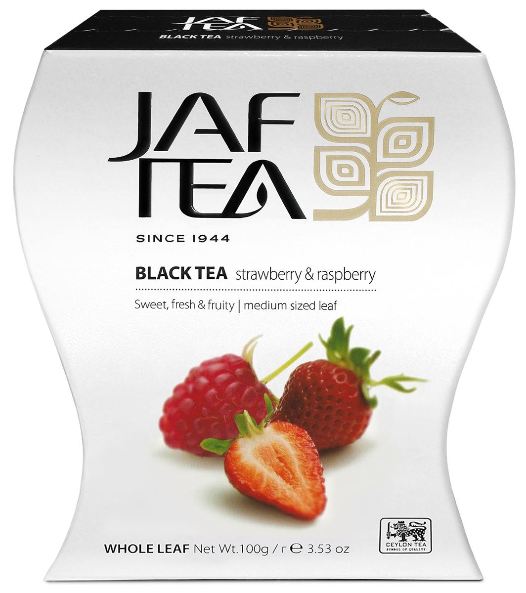 Jaf Tea PC Strawberry & Raspberry чай черный крупнолистовой с ароматом клубники и малины, 100 г4791038045151Превосходно сбалансированная смесь сладких и обволакивающих вкусов ягод клубники и малины уместно сочетается с отборным цейлонским классическим черным чаем. Смесь дополнена лепестками розы и кусочками шиповника для придания мягкости вкусу напитка.