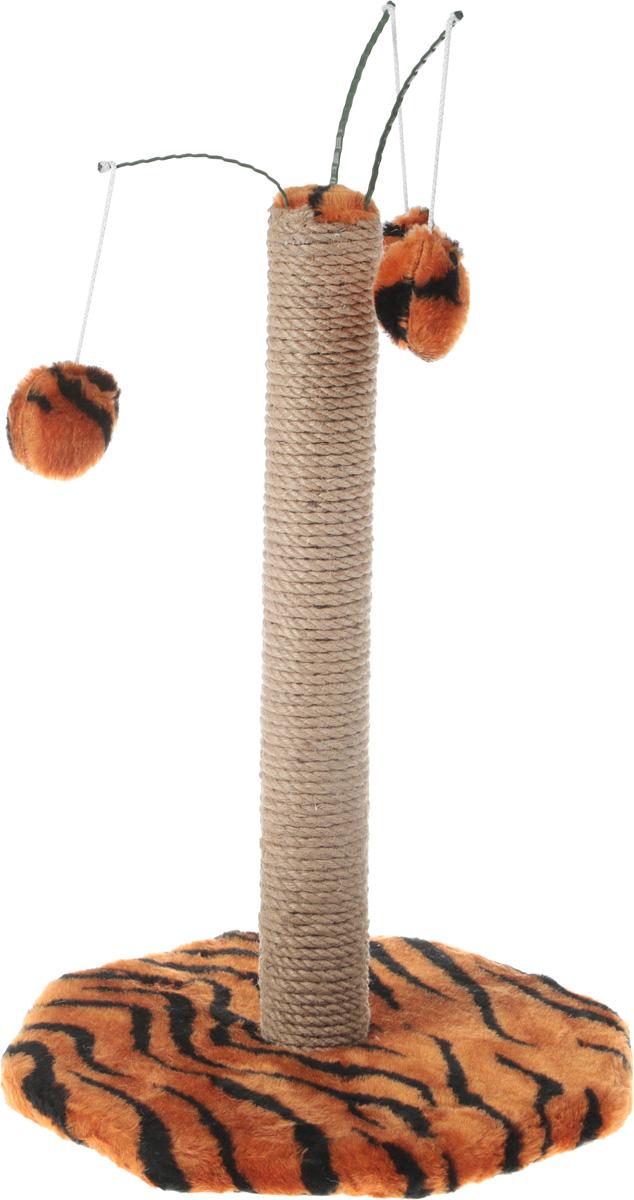Когтеточка Меридиан с тремя игрушками, цвет: тигровый fit с тремя органайзерами