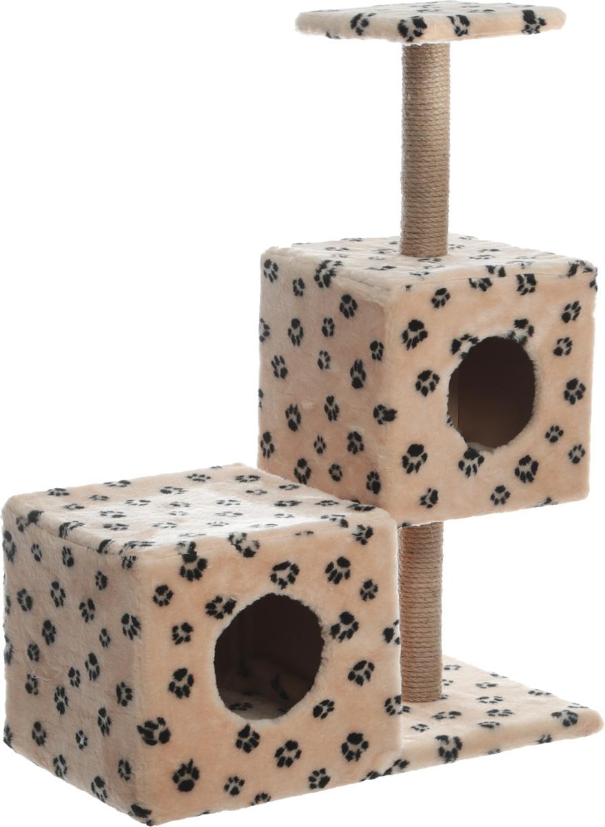 Домик-когтеточка Меридиан Разноуровневый, 3-ярусный, цвет: бежевый, черный, 66 х 36 х 94 см домик когтеточка меридиан геометрия угловой 4 ярусный 55 х 48 х 158 см
