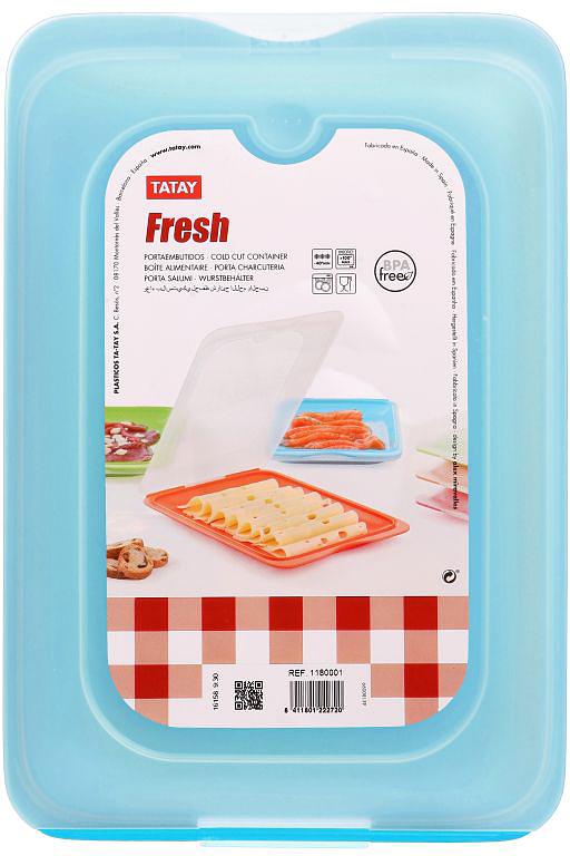 Контейнер пищевой TATAY, цвет: голубой, с крышкой, 0,8 л контейнер пищевой tatay цвет оранжевый круг диаметр 26 см