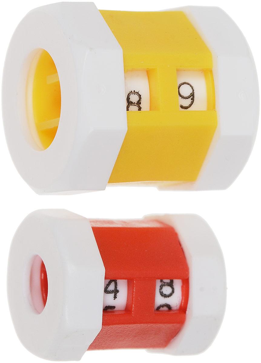 Счетчики рядов Pony, для спиц 2-7 / 5,5-7,5 мм, цвет: желтый, красный, 2 шт ути пути набор погремушек гремелки звенелки цвет красный желтый 2 шт